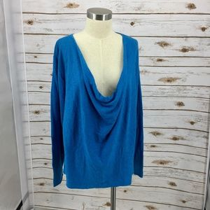 Eileen Fisher sweater cowl neck turquoise blue NWT
